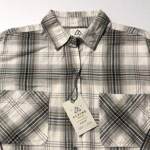 🆕 ALPINE DESIGN Women's Gray White Plaid Shirt
